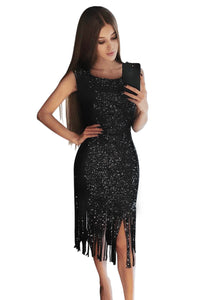 Black Fringe Hemline Convertible Style Sequin Dress
