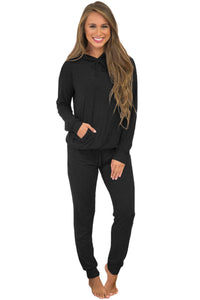 Black Loungewear Hoodie and Joggers Set