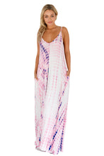 Pink Tie Dye Print Boho Pocketed Maxi Dress