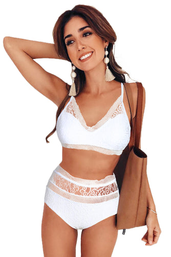 White Captured Lace-Trim Bikini Top & High-Waist Bottoms
