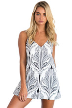 White Black Plant Print Short Dress