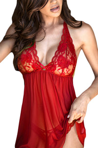 Red Ravishing Halter Lace Top Open Back Babydoll