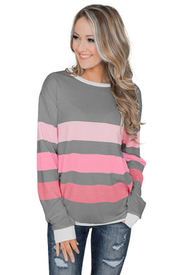 Gray Dreaming of Spring Striped Pullover Top