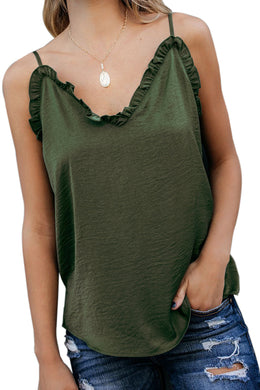 Green V-Neck Ruffle Adjustable Spaghetti Strap Tank Top