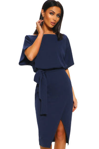 Blue Belted Wrap Front Midi Dress