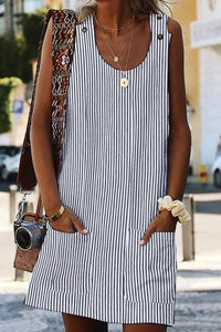 Black Boho Crew Neck Pockets Daily Striped Shift Dress