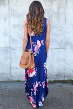 Blue Floral Pocketed Holiday Maxi Boho Dress