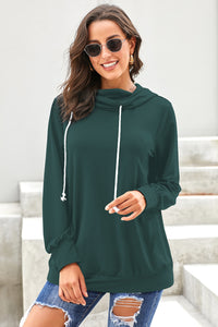 Green Long Sleeve Hoodie with Rope Drawstring