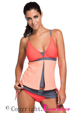 Orange Pink Colorblock Tankini Skort Bottom Swimsuit