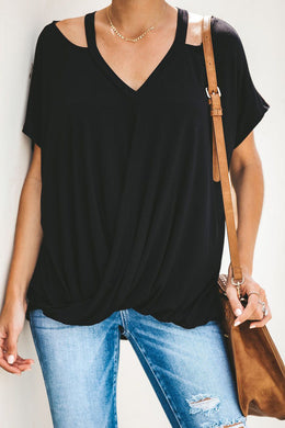Black Cut out Drape Tee