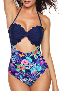 Blue Plus Size Solid Color Bodice Floral Panty Swim Maillot