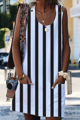 White Boho Crew Neck Pockets Daily Striped Shift Dress
