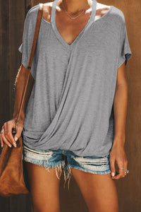Gray Cut out Drape Tee
