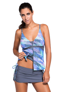 Bluish Print Tankini Skort Bottom Swimsuit
