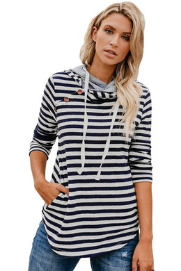 Navy Striped Button Detail Hoodie