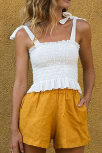 White Frill Tie Shoulder Strap Vest