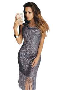 Gray Fringe Hemline Convertible Style Sequin Dress