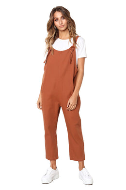 Orange Pockets Dungaree Jumpsuit