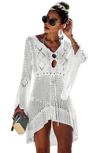 White Crochet Knitted Beach Cover up Dress