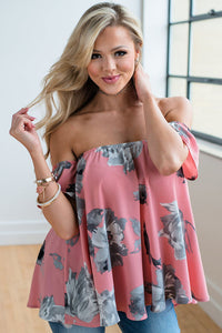 Hot Pink Floral Off Shoulder Blouse