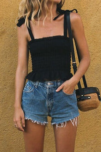 Black Frill Tie Shoulder Strap Vest