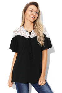 White Lace Splice Black Short Sleeve Blouse