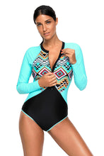 Aztec Print Rosy Rashguard Long Sleeve One Piece Swimsuit