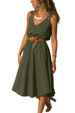 Green V Neck A-line Sundress