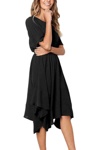 Black Chiffon Irregular Hem Short Sleeve Pleated Dress