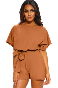 Brown Over The Top Belted Playsuit