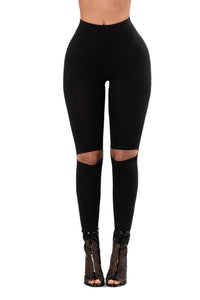 Black Knee Slit Super High Waisted Leggings