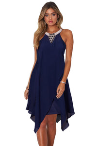Blue Sleeveless Short Handkerchief Dress