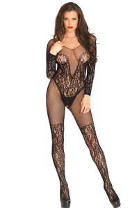 Black Vine Lace and Net Long Sleeve Bodystocking