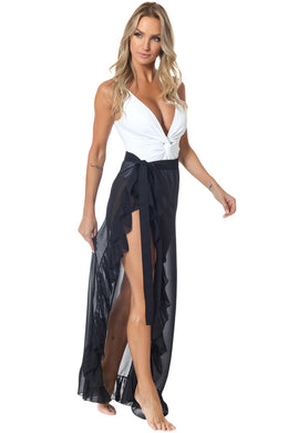 Black Ruffled Tulle Beach Cover up Maxi Skirt