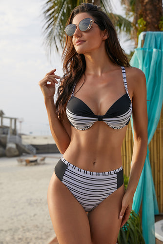 Black Colorblock Striped Bikini Swimsuit