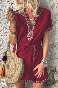 Red Summer Boho Embroidered V Neck Short Sleeve Casual Mini Dress