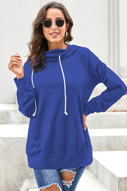 Blue Long Sleeve Hoodie with Rope Drawstring