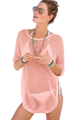 Pink See-through Half Sleeve Beach Cover up
