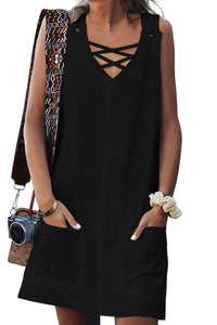 Black Cross V Neck Buttoned Pockets Dress