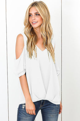 White Cold Shoulder V Neck Sewn Hem Blouse
