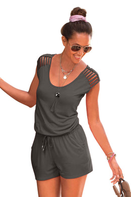 Gray Loose Fitting Short Jumpsuit