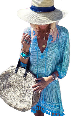 Sky Blue Summer V Neck 3/4 Sleeves Tassel-tie Dress