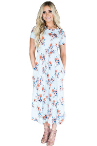 Casual Pocket Design Light Blue Floral Dress