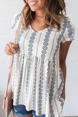 White Short Sleeve V Neck Floral Print Peplum Tunic Top