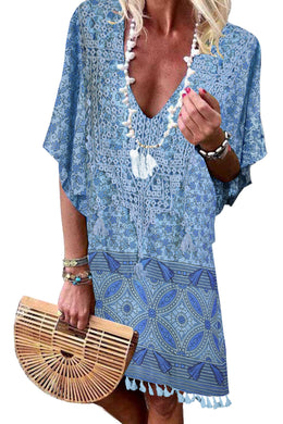 Sky Blue Floral Tassel Printed Casual Summer Dress