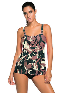 Camouflage Print 2pcs Swing Tankini Swimsuit
