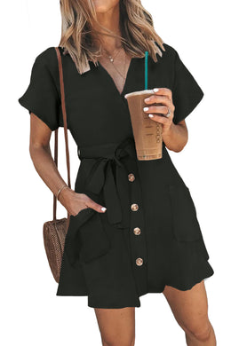 Black Button Short Sleeve Casual Dress