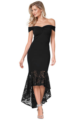 Black Twist Center Off Shoulder Bodycon Mermaid Dress