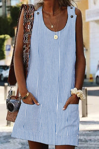 Sky Blue Boho Crew Neck Pockets Daily Striped Shift Dress