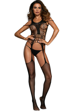 Shimmering Beaded Hollow-out Bodystocking